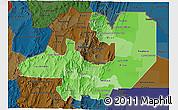 Political Shades 3D Map of Salta, darken