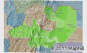 Political Shades 3D Map of Salta, semi-desaturated