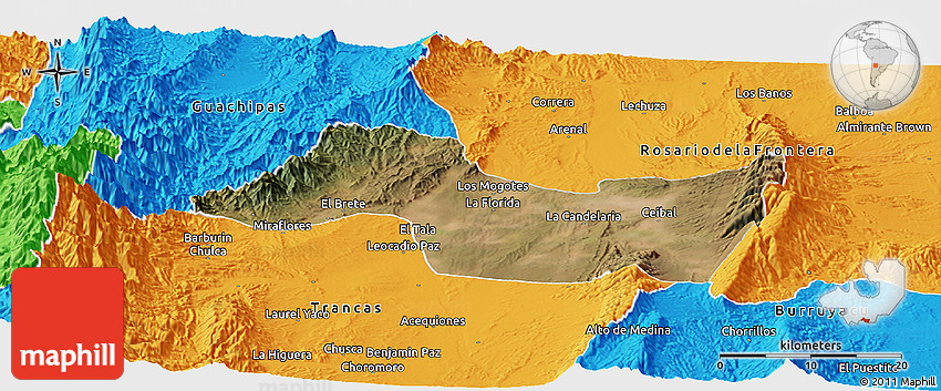 Satellite Panoramic Map Of Candelaria Political Outside - Candelaria map