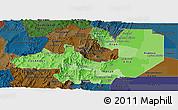 Political Shades Panoramic Map of Salta, darken