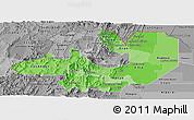 Political Shades Panoramic Map of Salta, desaturated