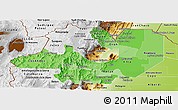 Political Shades Panoramic Map of Salta, physical outside