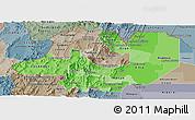 Political Shades Panoramic Map of Salta, semi-desaturated