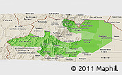 Political Shades Panoramic Map of Salta, shaded relief outside