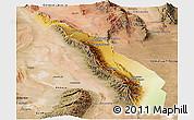Physical Panoramic Map of Valle Fertil, satellite outside