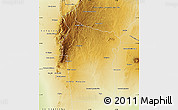 Physical Map of Coronel Pringles