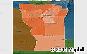 Political Shades Panoramic Map of San Luis, darken