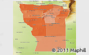 Political Shades Panoramic Map of San Luis, physical outside