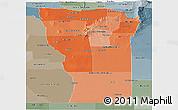 Political Shades Panoramic Map of San Luis, semi-desaturated