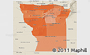 Political Shades Panoramic Map of San Luis, shaded relief outside