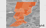 Political Shades Panoramic Map of Santa Fe, desaturated