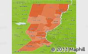 Political Shades Panoramic Map of Santa Fe, physical outside