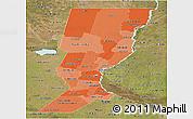 Political Shades Panoramic Map of Santa Fe, satellite outside