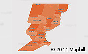 Political Shades Panoramic Map of Santa Fe, single color outside