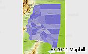 Political Shades 3D Map of Santiago del Estero, physical outside