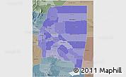 Political Shades 3D Map of Santiago del Estero, semi-desaturated