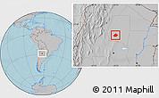 Gray Location Map of Atamisqui, hill shading