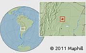 Savanna Style Location Map of Atamisqui, hill shading