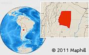 Shaded Relief Location Map of Santiago del Estero