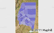 Political Shades Map of Santiago del Estero, satellite outside