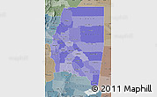 Political Shades Map of Santiago del Estero, semi-desaturated