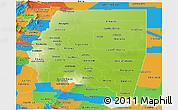 Physical Panoramic Map of Santiago del Estero, political outside
