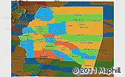 Political Panoramic Map of Santiago del Estero, darken