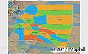 Political Panoramic Map of Santiago del Estero, semi-desaturated