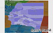 Political Shades Panoramic Map of Santiago del Estero, darken