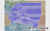 Political Shades Panoramic Map of Santiago del Estero, semi-desaturated