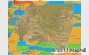 Satellite Panoramic Map of Santiago del Estero, political outside