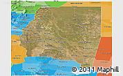 Satellite Panoramic Map of Santiago del Estero, political shades outside