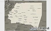 Shaded Relief Panoramic Map of Santiago del Estero, darken