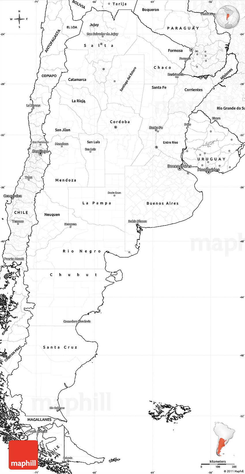 Blank Simple Map Of Argentina - Argentina map outline