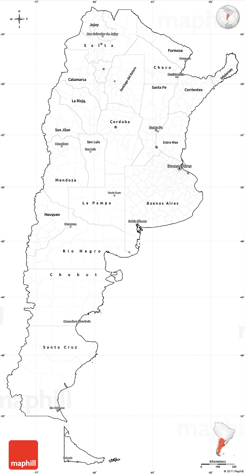 Blank Simple Map Of Argentina Cropped Outside - Argentina map cities