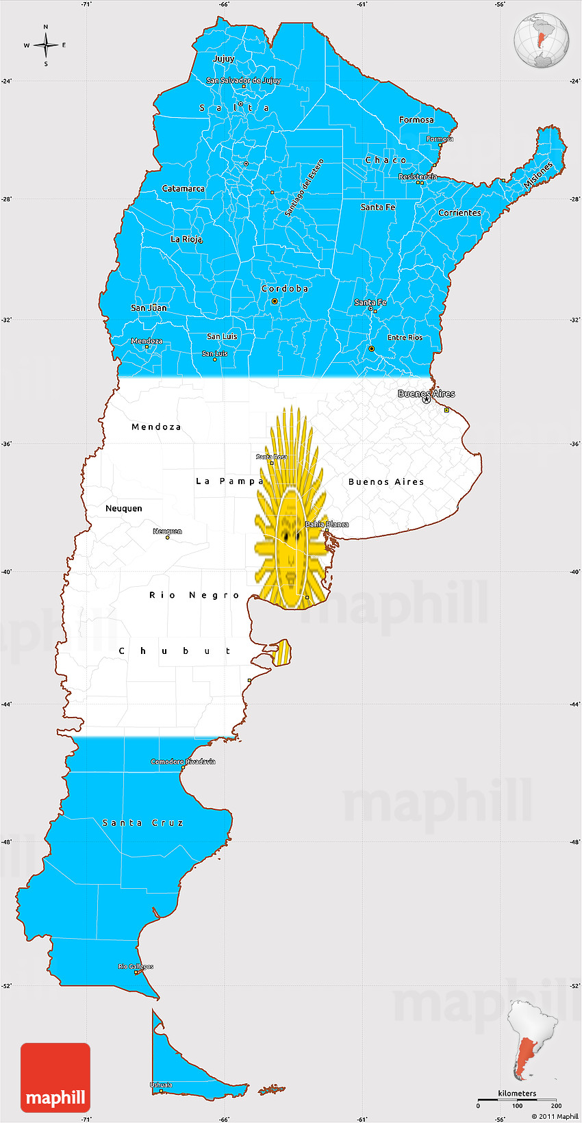 Flag Simple Map Of Argentina - Argentina map latitude
