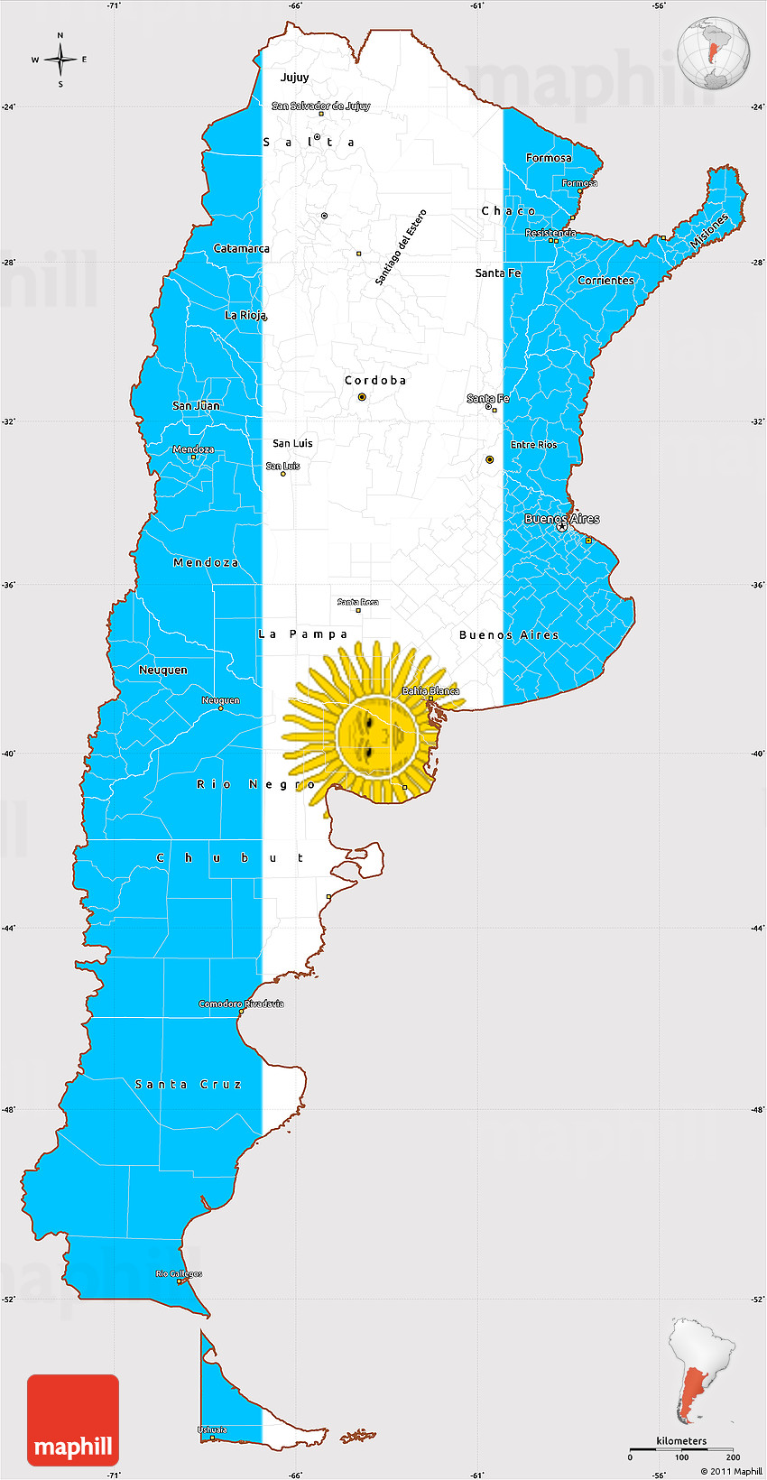 Flag Simple Map Of Argentina Flag Rotated - Argentina map cordoba