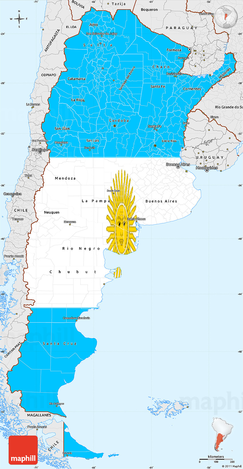 Flag Simple Map of Argentina, single color outside, borders ...