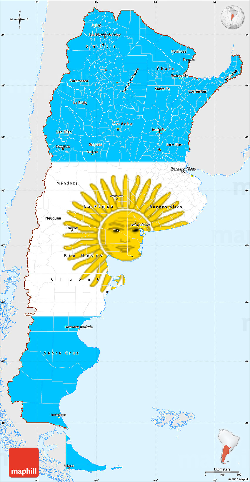 Flag Simple Map of Argentina, single color outside, flag ...