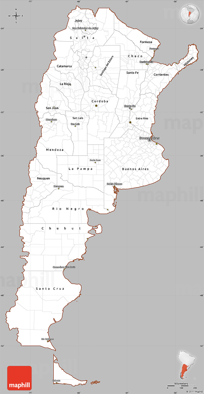 gray simple map of argentina  cropped outside