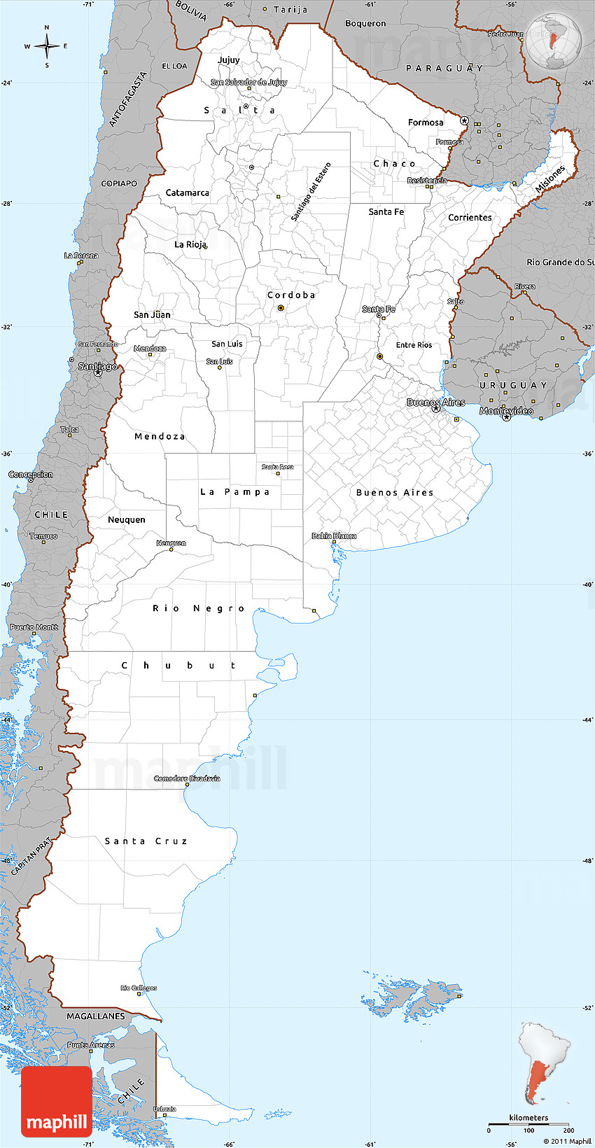 Gray Simple Map Of Argentina - Argentina map vector free