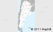 Gray Simple Map of Argentina