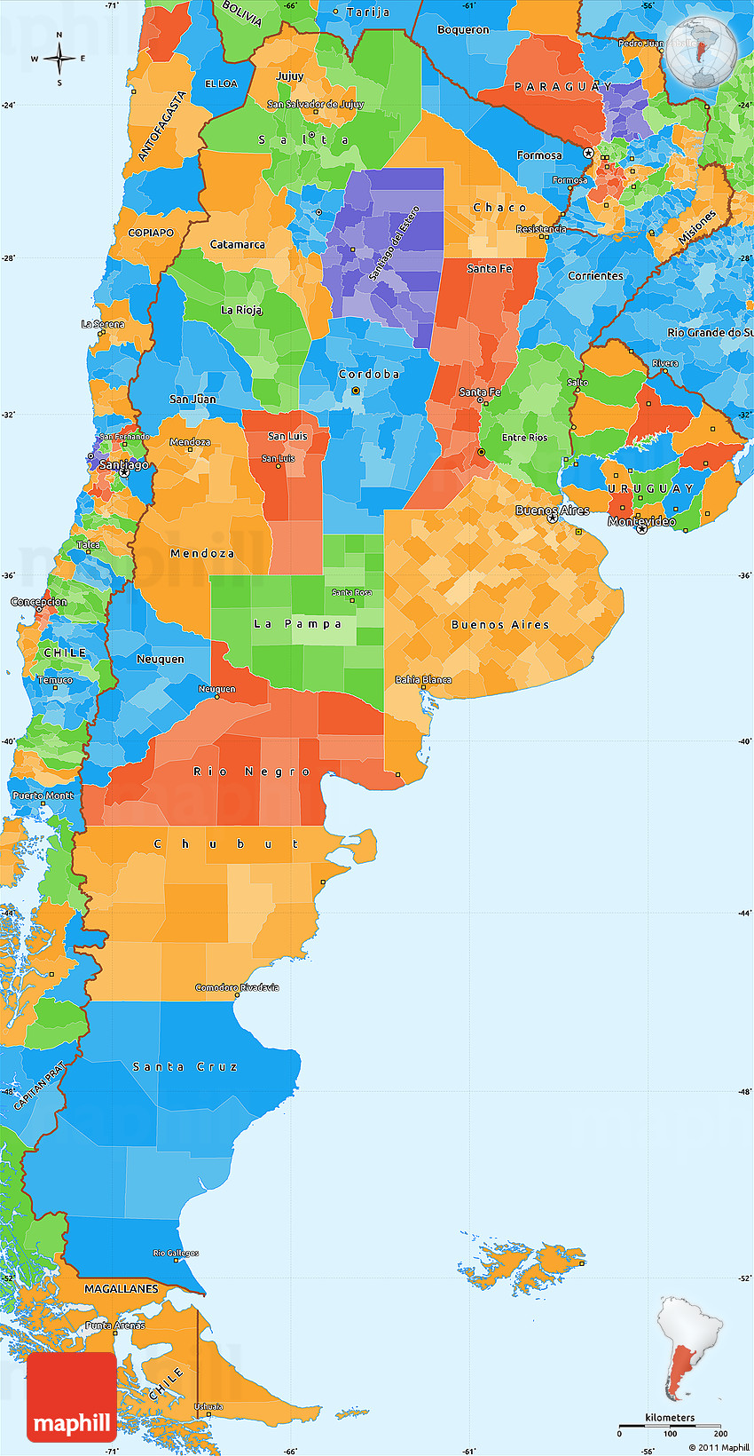 Political Simple Map Of Argentina - Argentina map detailed