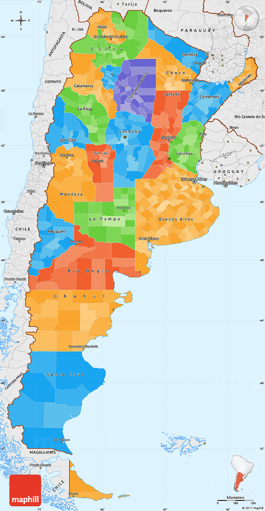 Political Simple Map Of Argentina Single Color Outside Borders - Argentina map detailed