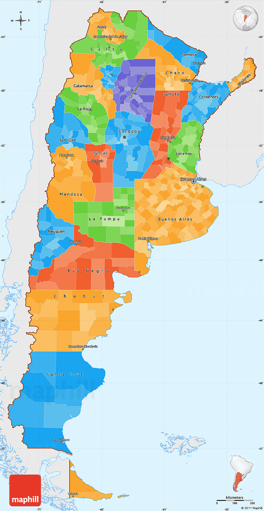 Political Simple Map Of Argentina Single Color Outside - Map argentina