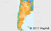 Political Shades Simple Map of Argentina, political outside