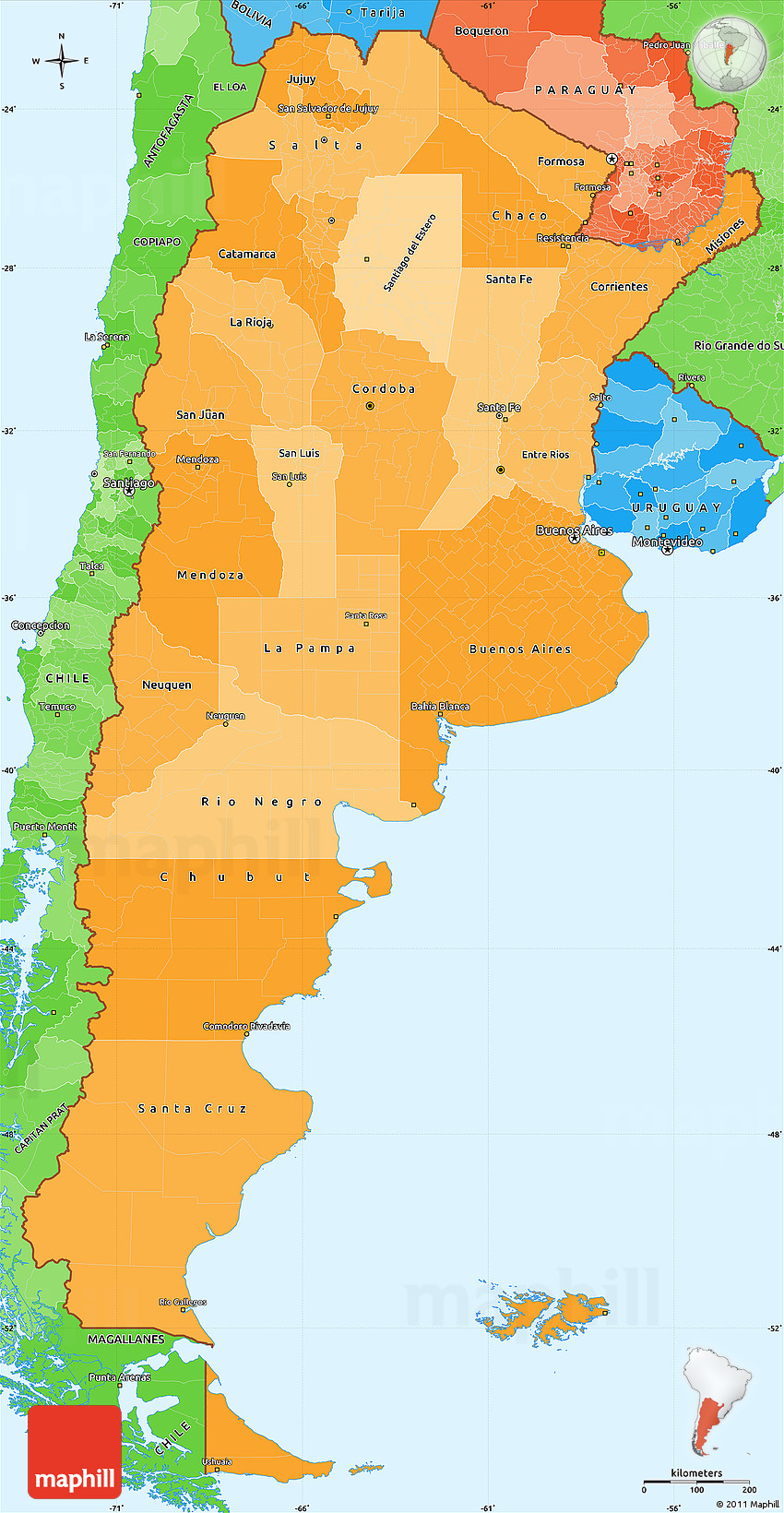 Political Shades Simple Map Of Argentina - Argentina map latitude