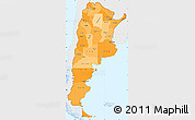 Political Shades Simple Map of Argentina, single color outside