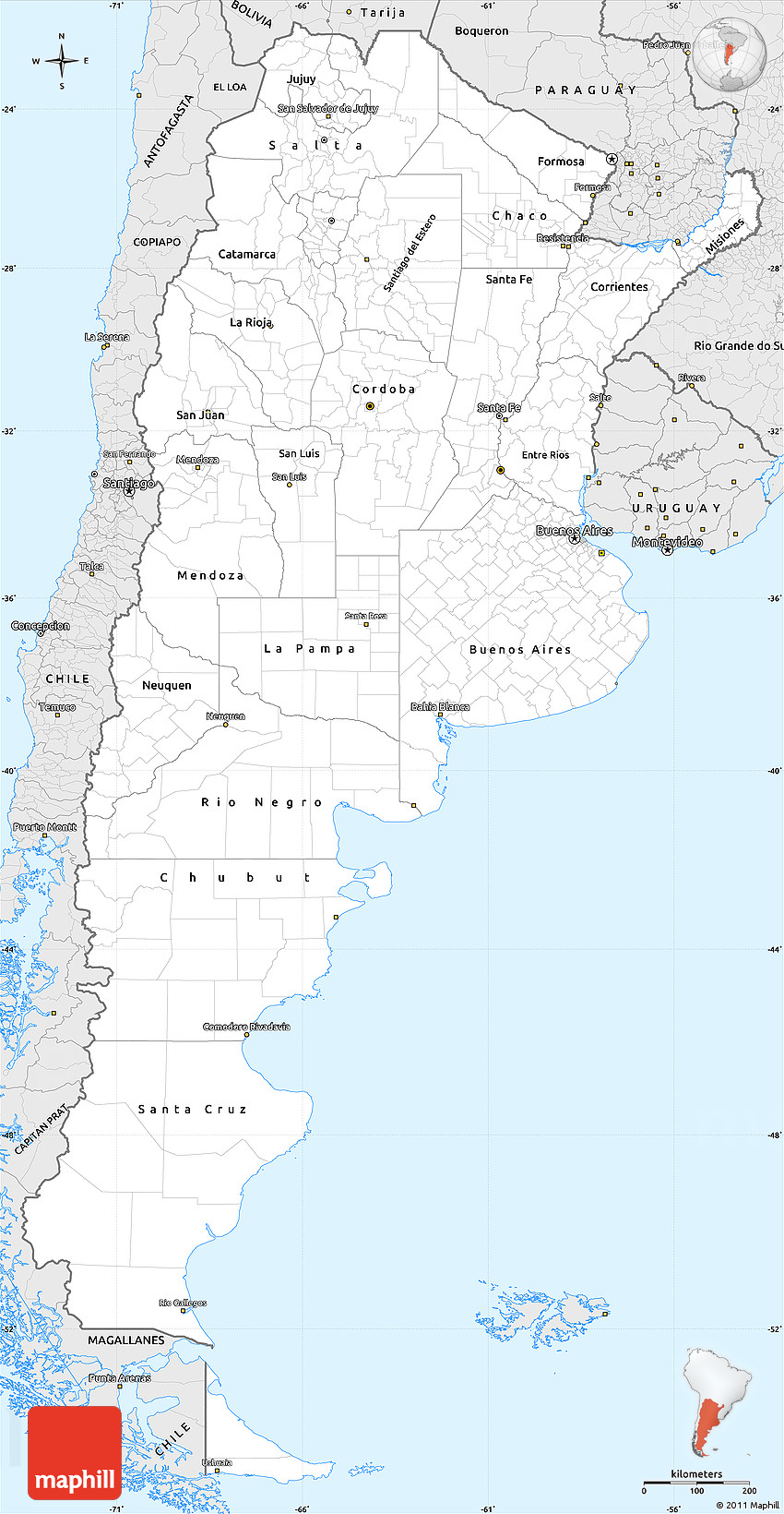 Silver Style Simple Map Of Argentina - Argentina map outline