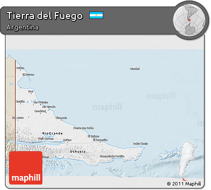 Classic Style 3D Map of Tierra Del Fuego